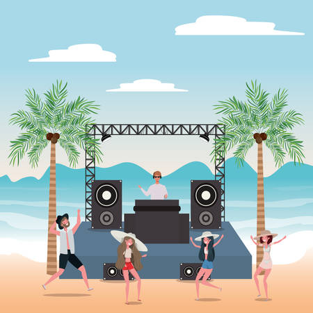 People dancing on the beach design, Summer vacation travel sea and lifestyle theme Vector illustration Stock Vector - 134049469