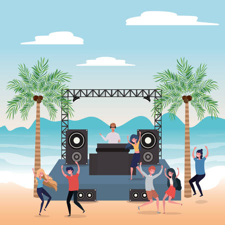 People dancing on the beach design, Summer vacation travel sea and lifestyle theme Vector illustration Illustration