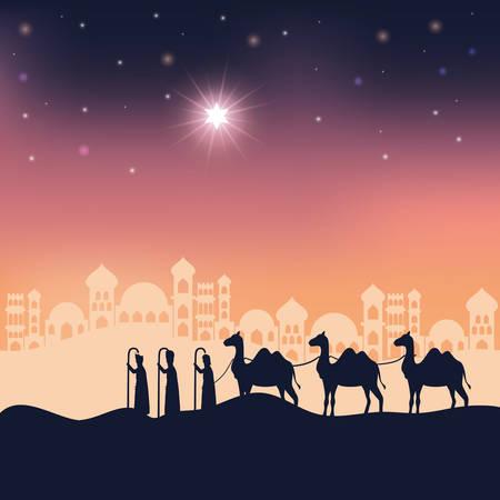 king magicians in desert night landscape scene vector illustration design 스톡 콘텐츠 - 133755653