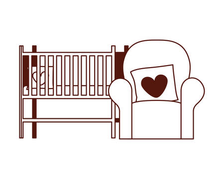 livingroom sofa with love pillows and cradle vector illustration design Illustration