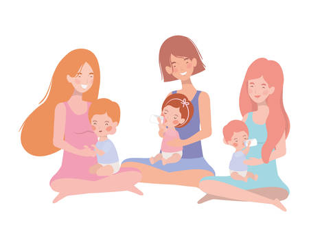 cute pregnancy mothers seated lifting little babies characters vector illustration design Ilustrace