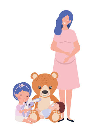 cute pregnancy mother with little kids characters vector illustration design Ilustrace