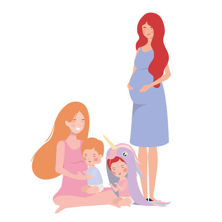 cute pregnancy mothers with little babies characters vector illustration design Ilustrace