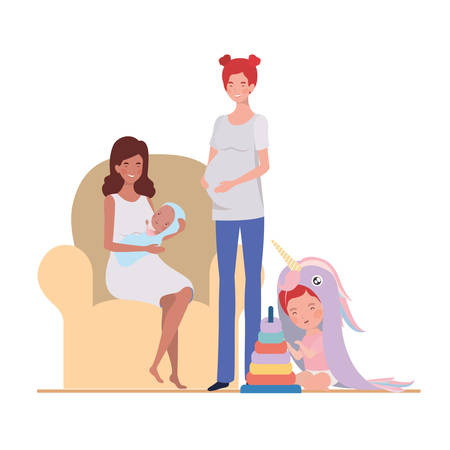 interracial pregnancy mothers with little babies in livingroom vector illustration design