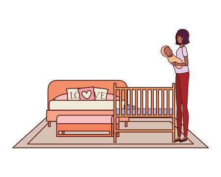 afro pregnancy mother lifting little baby in the bedroom vector illustration design