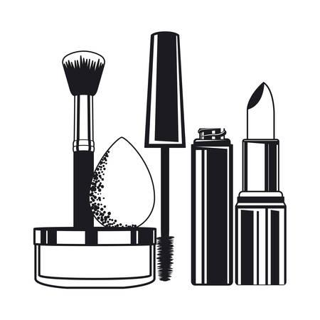 ensemble d'applicateurs composent des pinceaux et des cosmétiques vector illustration design