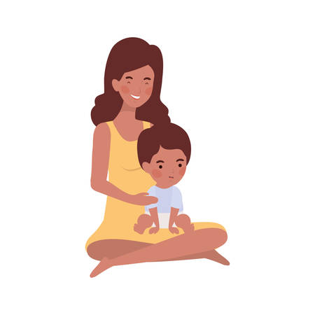 afro pregnancy mother with little boy characters vector illustration design
