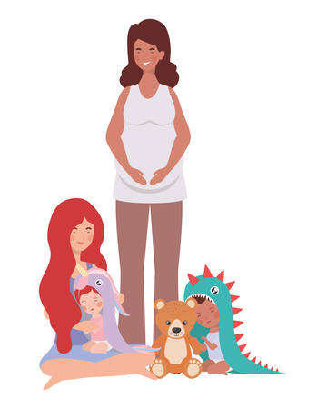 interracial pregnancy mothers with little babies characters vector illustration design Ilustrace