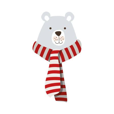 merry christmas polar bear with scarf vector illustration design Foto de archivo - 133701975