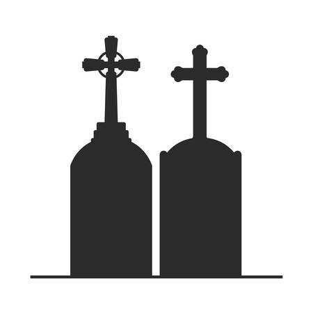 graveyard tombstone on white background vector illustration design