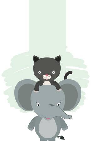 cute little cat and elephant characters vector illustration design Foto de archivo - 133701982
