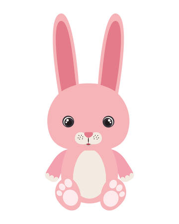 cute little rabbit animal character vector illustration design Foto de archivo - 133701983