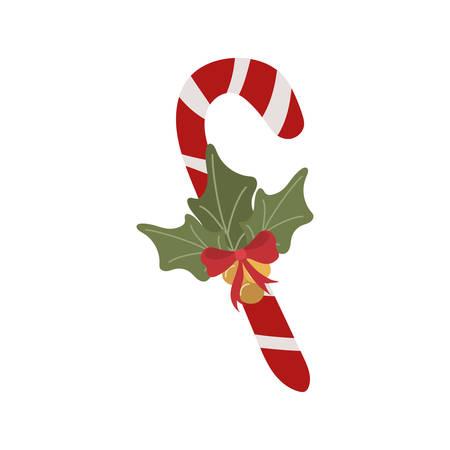 merry christmas cane with leafs decoration vector illustration design Illusztráció
