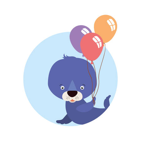 cute little seal with balloons helium character vector illustration design Foto de archivo - 133702099