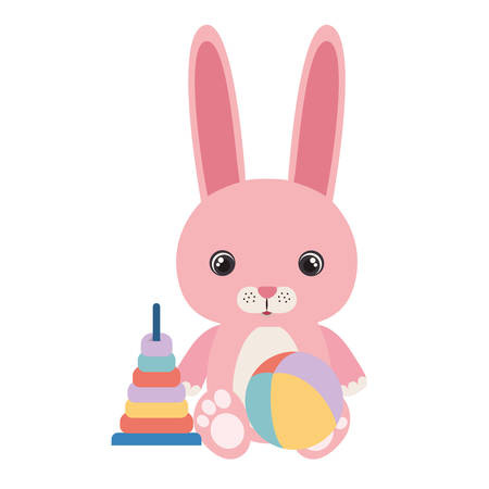 cute little rabbit with set toys vector illustration design Foto de archivo - 133702101