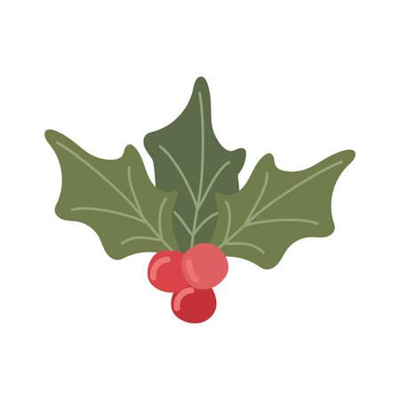 merry christmas leafs and cherries vector illustration design Illusztráció