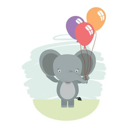 cute little elephant with balloons helium character vector illustration design Foto de archivo - 133702111