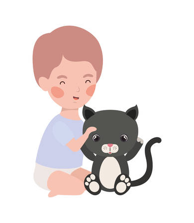 cute little boy baby with little cat character vector illustration design Foto de archivo - 133702113