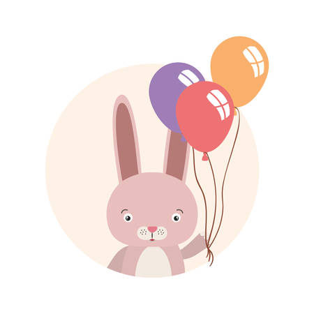 cute little rabbit with balloons helium character vector illustration design Foto de archivo - 133702261