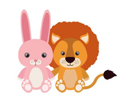 cute little lion with rabbit vector illustration design 스톡 콘텐츠 - 133755735