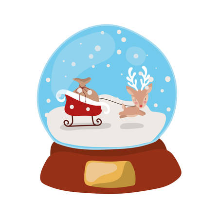 merry christmas crystal ball with reindeer and sled vector illustration design
