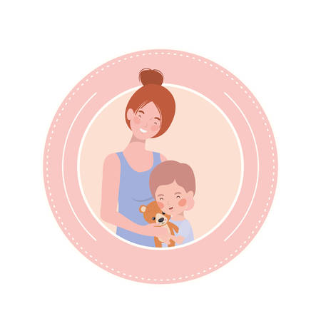 cute pregnancy mother with little boy characters vector illustration design