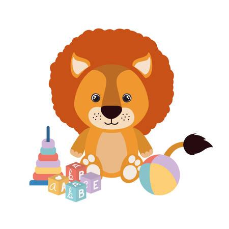 cute little lion with set toys vector illustration design