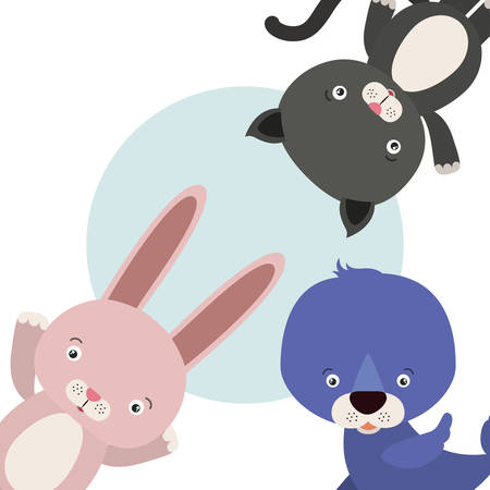 group of cute animals characters vector illustration design Foto de archivo - 133700704