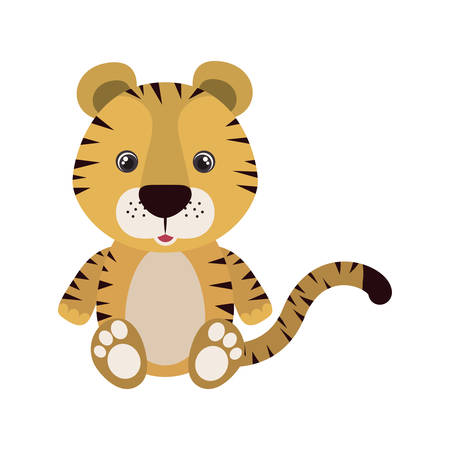 cute little tiger animal character vector illustration design