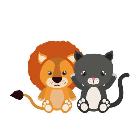 cute little cat and lion characters vector illustration design Foto de archivo - 133700705