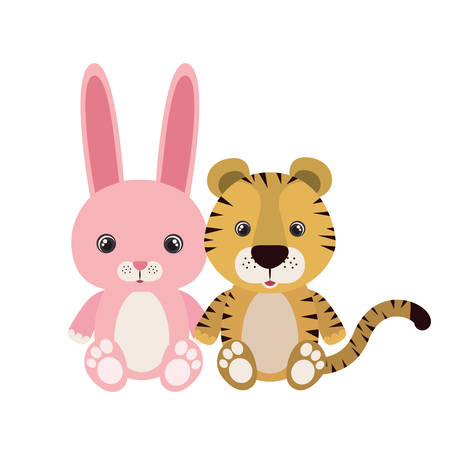 cute little tiger and rabbit characters vector illustration design