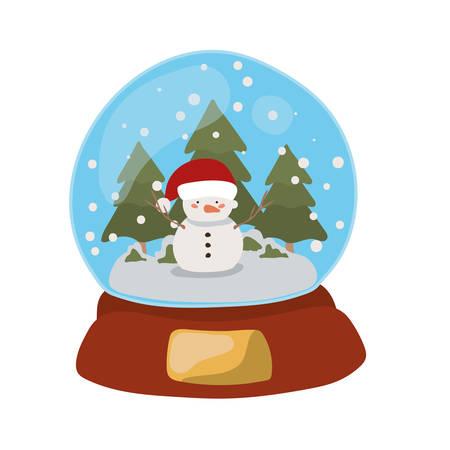 merry christmas crystal ball with snowman vector illustration design Archivio Fotografico - 133700708