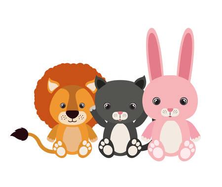 group of cute animals characters vector illustration design Foto de archivo - 133700710
