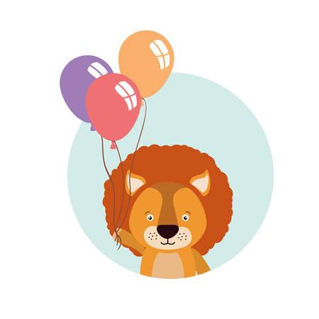 cute little lion with balloons helium vector illustration design 일러스트