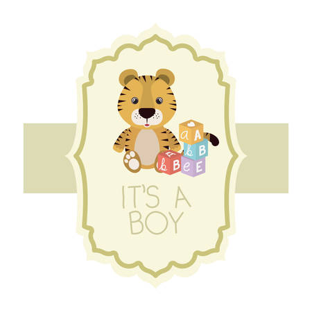 cute little tiger with blocks toys it s a boy card vector illustration design 일러스트