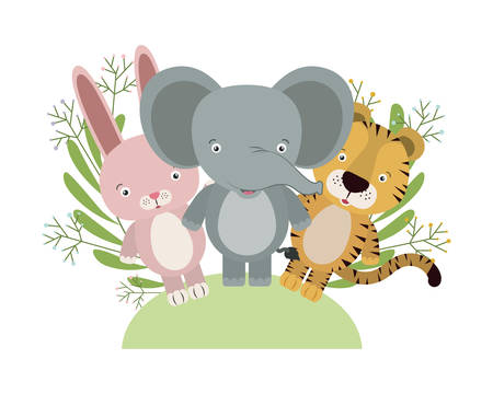 group of cute animals characters with wreath crowns vector illustration