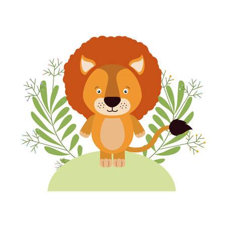 cute little lion with wreath crown vector illustration design