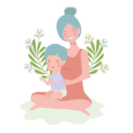 cute pregnancy mother seated with little boy characters vector illustration design Archivio Fotografico - 133755764
