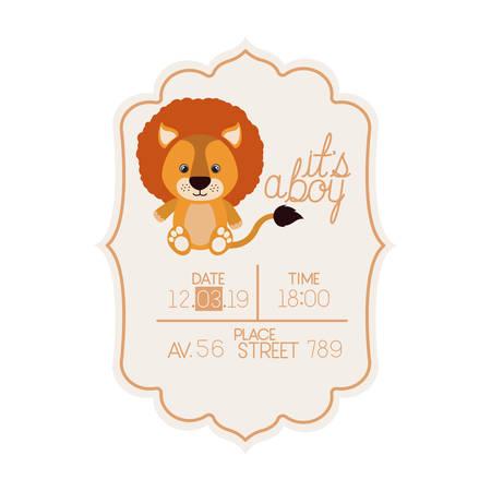 cute little lion it s a boy card vector illustration design 일러스트