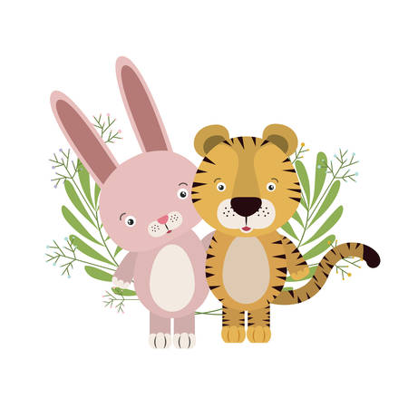 cute little tiger and rabbit with wreath crown vector illustration design