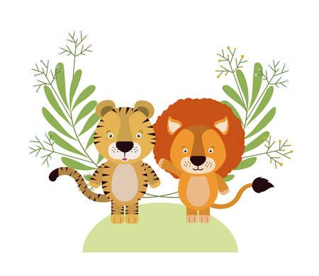cute little tiger and lion with wreath crown vector illustration design 스톡 콘텐츠 - 133761842