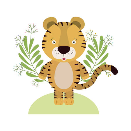 cute little tiger with wreath crown character vector illustration design