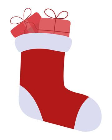 happy merry christmas sock icon vector illustration design