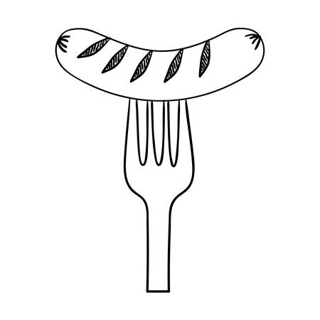 delicious sausage frankfurter in fork vector illustration design Illustration
