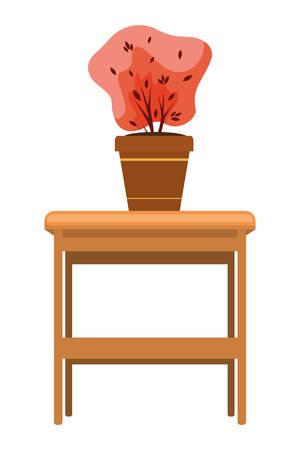 wooden table with autumn plant in ceramic pot vector illustration design Stock Illustratie