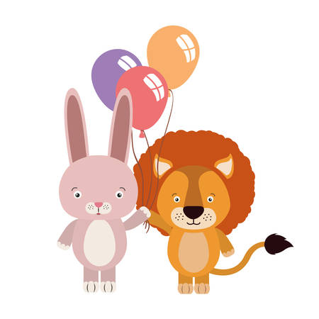 cute little lion and rabbit with balloons helium vector illustration design 스톡 콘텐츠 - 133763170