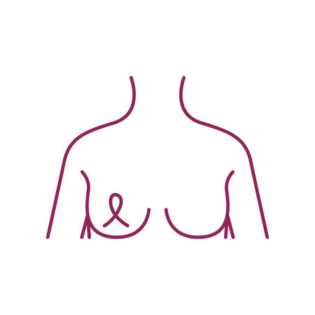 breast cancer woman body with ribbon vector illustration design