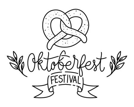delicious pretzel with calligraphy bakery food icon vector illustration design
