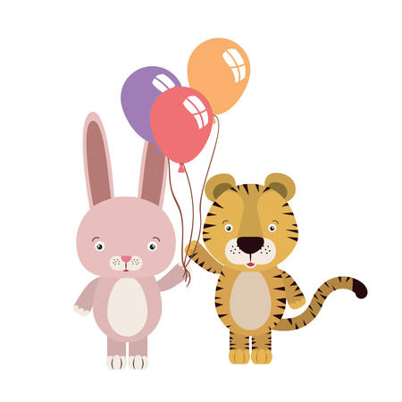 cute little tiger and rabbit with balloons helium vector illustration design