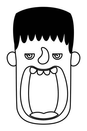 cute little boy head with frankenstein costume vector illustration design